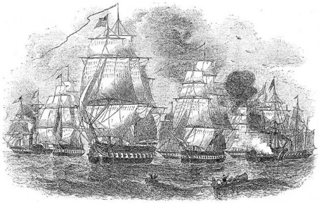 圖為1854年美國東印度分艦隊司令培里二度率領前往日本之艦隊。(維基百科)