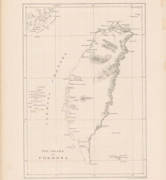1854年7月美國東印度分艦隊司令培里派艦至台灣勘查後製作的台灣地圖。(德國古物業者Dasa Pahor官網)