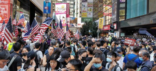 每逢周末,香港市民不理會警方的禁制,發起「反送中」遊行。(中央社)