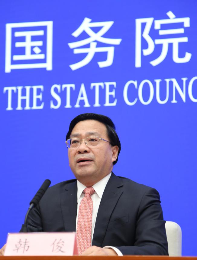 農業農村部副部長韓俊。  (中新社資料照片)