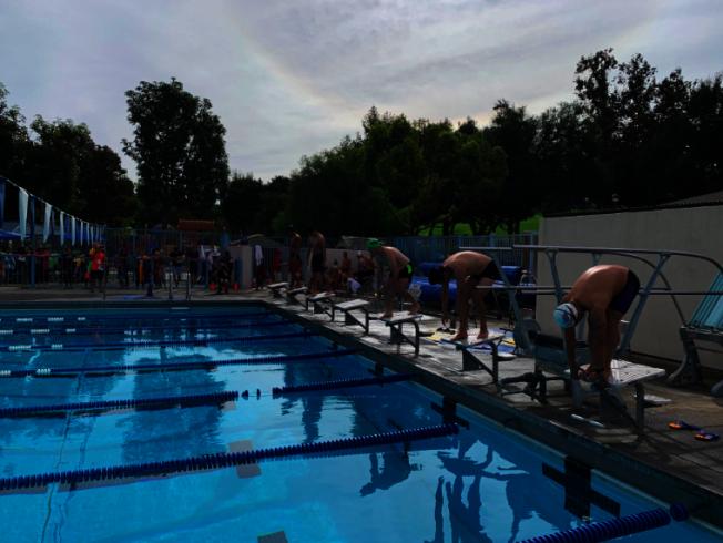 美國華人運動會游泳錦標賽的參賽選手都非常認真、專業。(記者張越/攝影)
