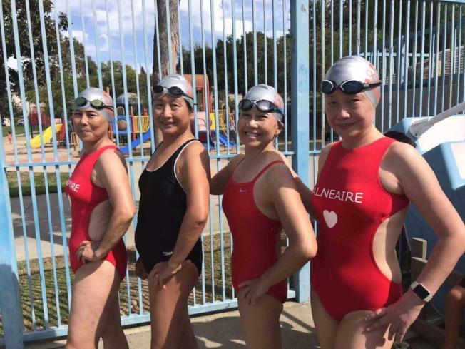 好姐妹橫掃60-69歲年齡組所有四項接力賽金牌。(橙縣好姐妹武小青提供)