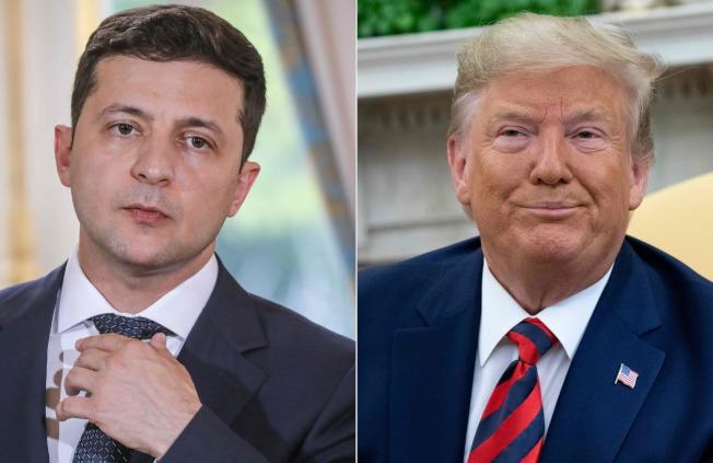 「吹哨者」揭露美國總統川普(右圖)在電話施壓烏克蘭總統澤倫斯基(左圖),要求烏國調查美國前副總統白登的兒子在烏國的商業行為。(Getty Images)
