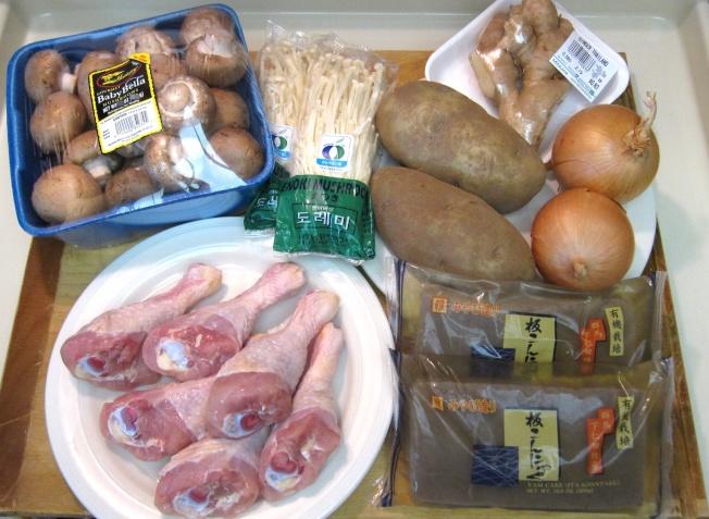 鮮菇雞肉蒟蒻煮材料