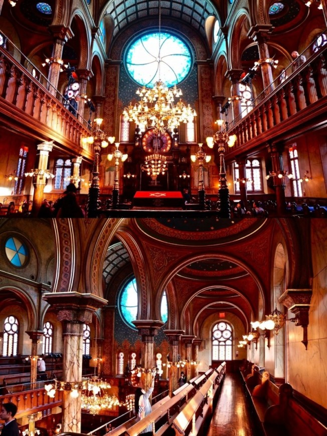 Museum at Eldridge Street內部經過整修後顯得金碧輝煌,其設計有別於傳統哥德式風格,而是帶有伊斯蘭文化的元素。(圖:作者提供)