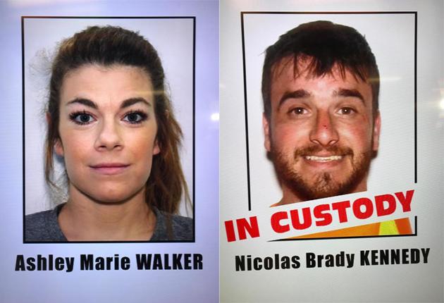 右:目前已被捕並準備從喬治亞引渡到洛杉磯審判的嫌犯Nicolas Brady Kennedy。(記者楊青/翻攝) 左:目前仍然在逃的嫌犯Ashley Marie Walker。(記者楊青/翻攝)