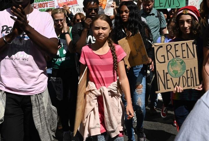 瑞典環保鬥士桑伯格(Greta Thunberg)在紐約參加了抗議氣候變遷大遊行。(Getty Images)
