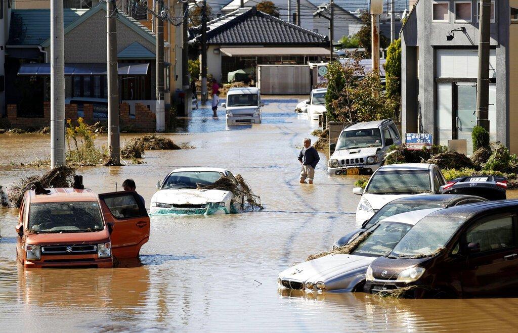 哈吉貝颱風侵襲日本,造成嚴重傷亡。(美聯社)