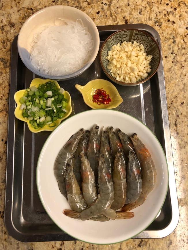 蒜蓉粉絲蒸蝦材料
