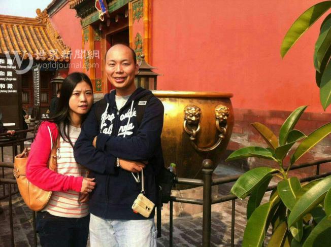 陳佩霞和劉文健結婚後回中國旅遊時合影。(陳佩霞提供)