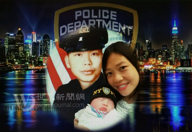 劉安兒出生當天,陳佩霞使用修圖軟件製作了一張全家福。(陳佩霞提供)