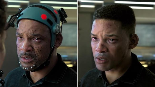出演年輕版時,威爾史密斯需要戴特效頭盔,表情和聲音被記錄下來。 (派拉蒙圖片)