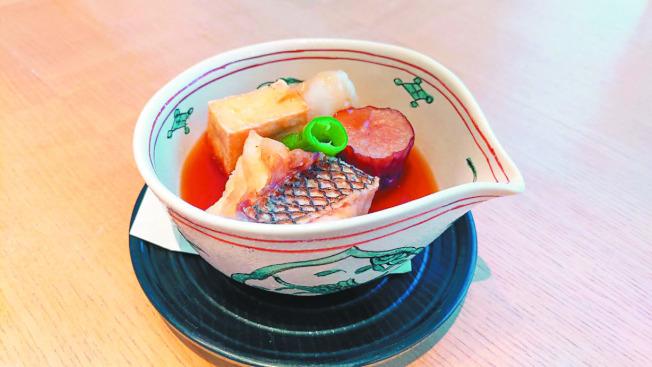 鯛魚竜田揚與蘿蔔泥煮蔬菜。(圖:加藤良一提供)