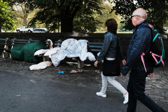 紐約著名的中央公園也有遊民占地為家。(Getty Images)