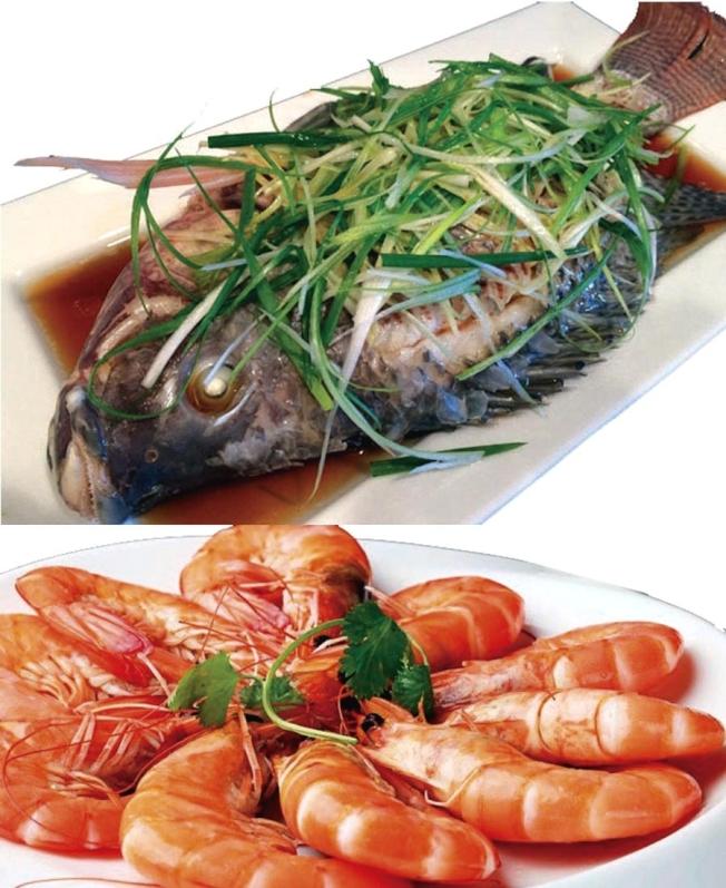勝記美食坊的「清蒸游水立魚」與「白灼基圍蝦」