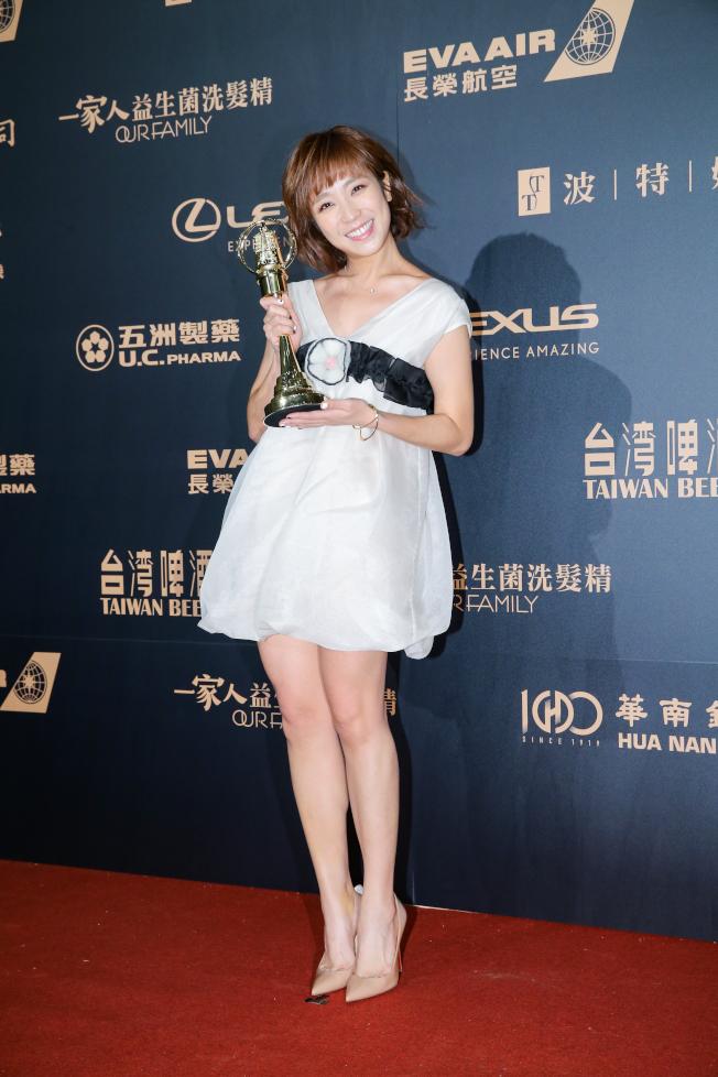 第54屆電視金鐘獎戲劇節目新進演員獎由梁舒涵以女兵日記獲得。(記者許正宏/攝影)
