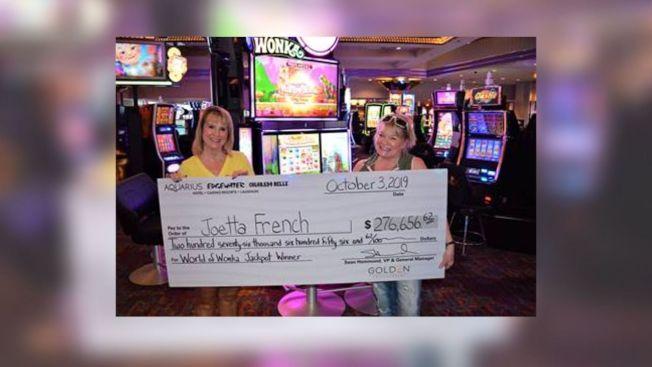 賭場慶生華盛頓州婦人拉中大獎。(Aquarius賭場提供)