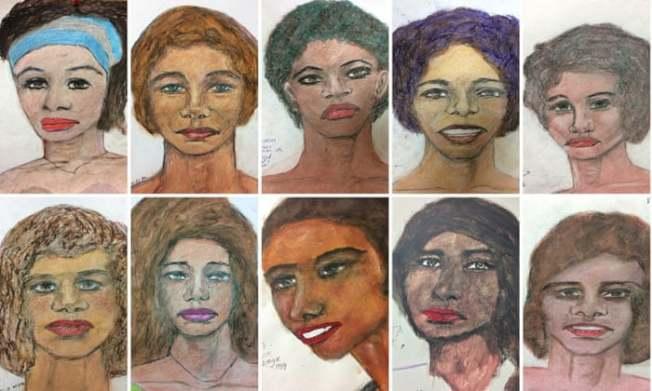 FBI公布李投在獄中親手繪製遭他勒斃的受害人肖像,大半為非裔婦女。(Getty Images)