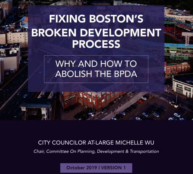 吳弭提出「廢除波士頓規畫發展局」全面計畫。圖為報告封面。(取材自報告)