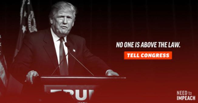 一個推動彈劾川普的組織在各種平台打廣告,呼籲彈劾川普。(路透)