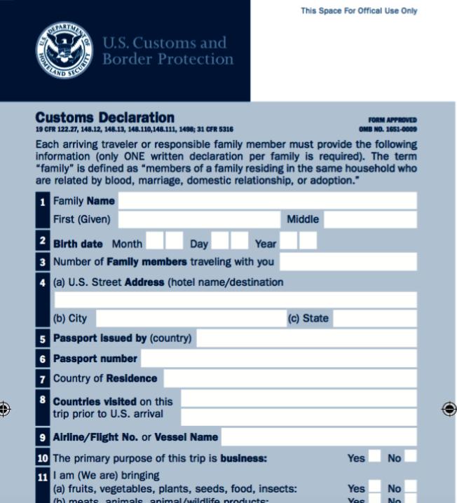 美國入境申報單民眾應如實填寫,否則可能遭罰款甚至觸犯法律。(取自CBP官網)