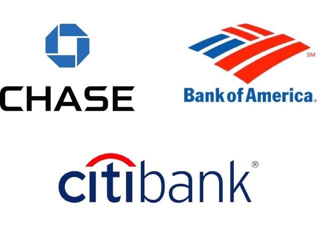 美國三大銀行─花旗、美國商銀、大通銀行。