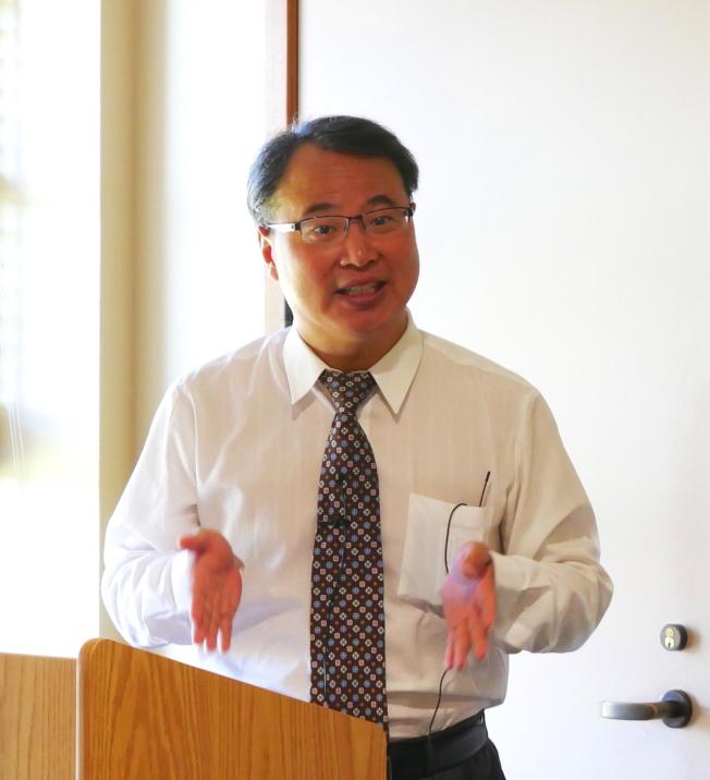 王勇在史丹福大學談貿易戰。(記者梁雨辰/攝影)