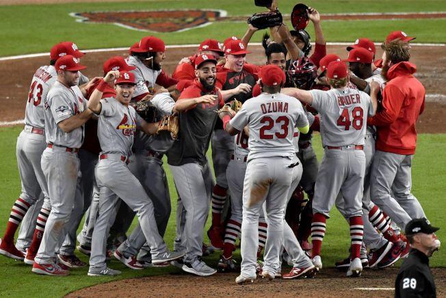 紅雀挺進世界大賽,全隊歡騰。( 美聯社)