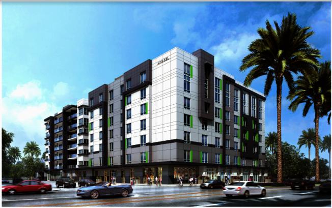 華資開發商打算在阿提夏市開發的大型住商兩用混合開發案「阿提夏活力區一號」,包括百餘個房間的萬豪酒店。(開發商提供)