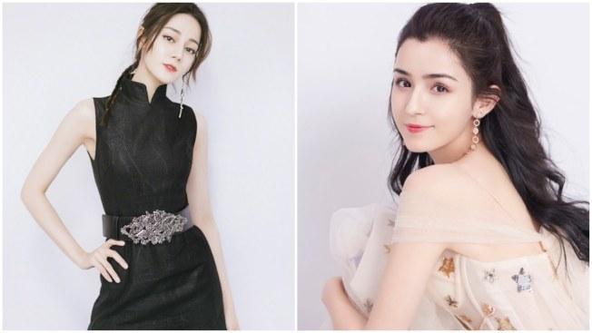 迪麗熱巴(左)在美女排行榜上敗給了同鄉的新人哈妮克孜(右)。(取材自微博)