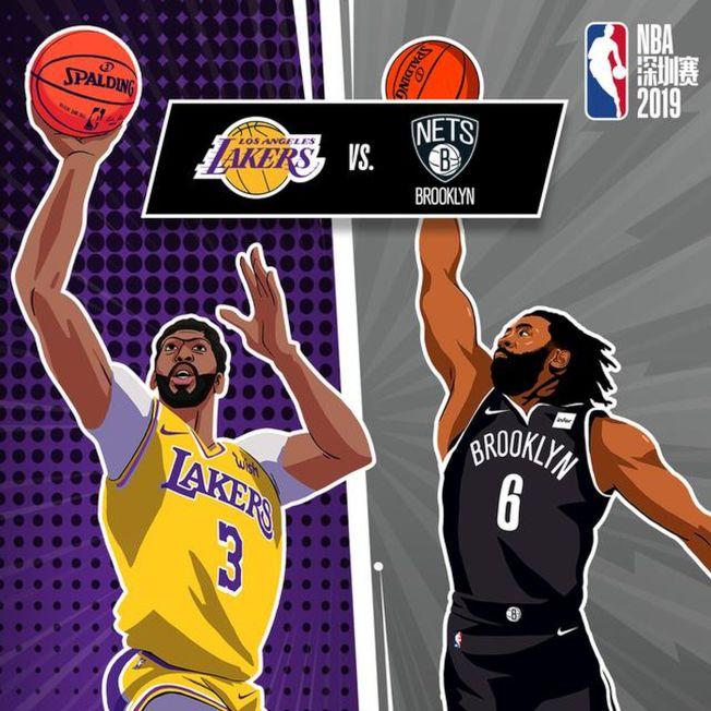 洛杉磯湖人隊在NBA中國賽深圳站中對陣布魯克林籃網隊。(取材自NBA中國官方網站)