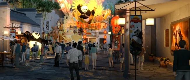 北京環球度假區公布七大主題景區,圖為七大主題景區之一的「功夫熊貓蓋世之地」效果圖。(新華社)