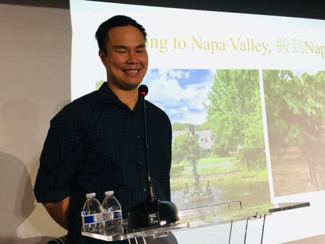 Kanpai Wines執行總裁暨Napa Valley Meadowbrook Farm莊園園主,以及「神之雫品酒沙龍」北美市場負責人姜理得。(記者楊青/攝影)