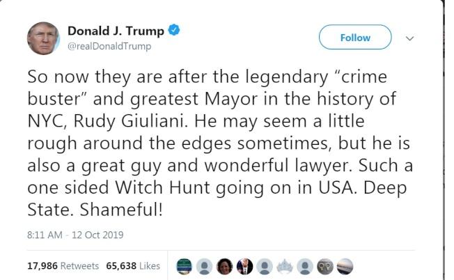 川普總統推文替朱利安尼辯護,稱這位紐約市最成功的市長雖然稜角分明,但是個好人,也是好律師。(川普推特)
