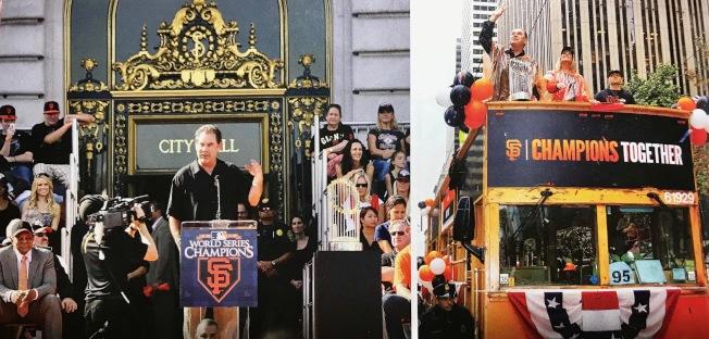 波奇於2012年二度率巨人隊捧得世界大賽冠軍獎杯後參加舊金山百萬人大巡遊和市府門前的慶會。(圖片由舊金山巨人隊提供)