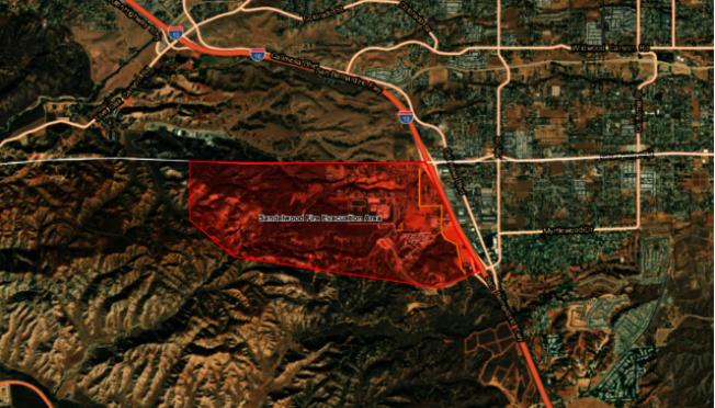 河濱縣Sandalwood山火被要求強制撤離的地區。(網路圖片)