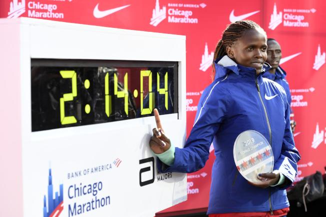 寇絲蓋寫下女子馬拉松新的世界紀錄。(美聯社)