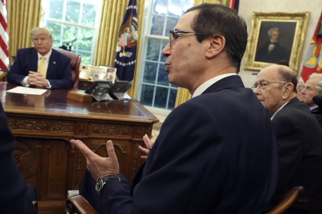 美國財政部長米努勤(Steven Mnuchin)。(美聯社)