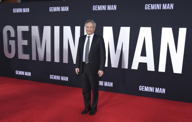 導演李安在「雙子殺手」(Gemini Man)首映禮現場。(美聯社)
