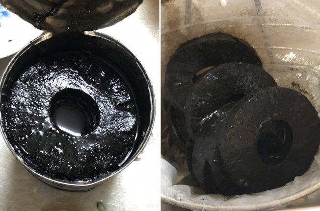 一日本網友從家裡挖出一罐已存放5年的鳳梨罐頭,原本想說應該還保存的很好,不料一打開後,鳳梨竟變成了「輪胎」。圖/截取自ふぉい推特