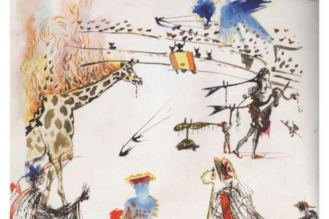 超現實大師達利(Salvador Dali)這幅蝕刻畫,13日在舊金山一個畫廊展出時,被人在光天化日下偷走;這是達利名作,價值2萬元以上,達利一個蝕刻系列中的一幅。(取自推特)