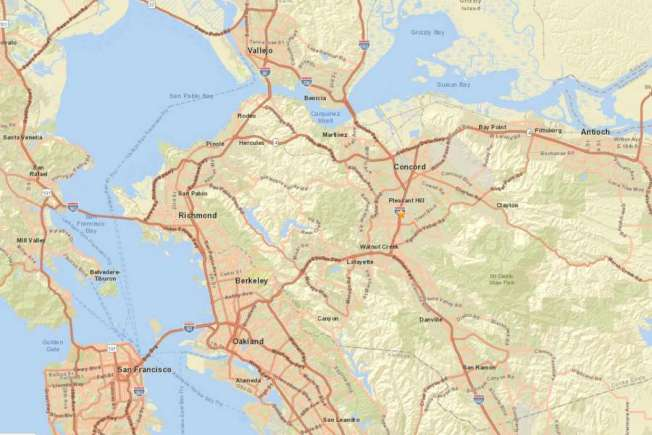 37--東灣4.5規模地震的震央位於快樂山(Pleasant Hill),圖為快樂山的位置,市北就是康柯德(Concord)。(圖:USGS)