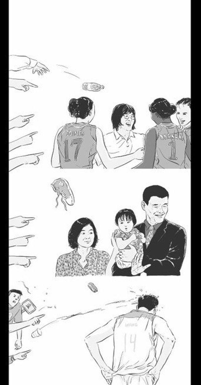 長安劍轉發的圖是由知名動漫博主「黃一刀有毒」所繪,這張圖由上而下為郎平、姚明與王治郅被人指罵。(取材自微博)