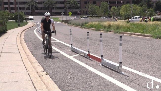 圖為自行車用道分隔柵欄。(市府提供)
