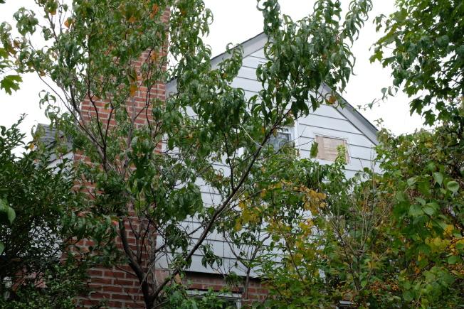 李林鴻住所的側面,他的臥室就在二樓。(記者曹健/攝影)