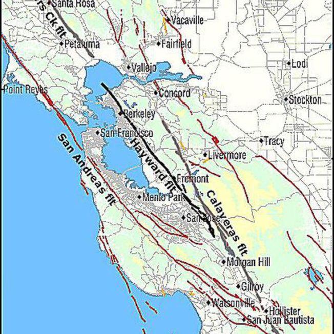 37--灣區地下有兩大地殼板塊不斷移動,斷層發生大地震的機率也最高。(圖:柏克萊加大地震實驗室)