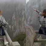 強風一吹、身子就搖…搏命女,黃山懸崖邊拍抖音