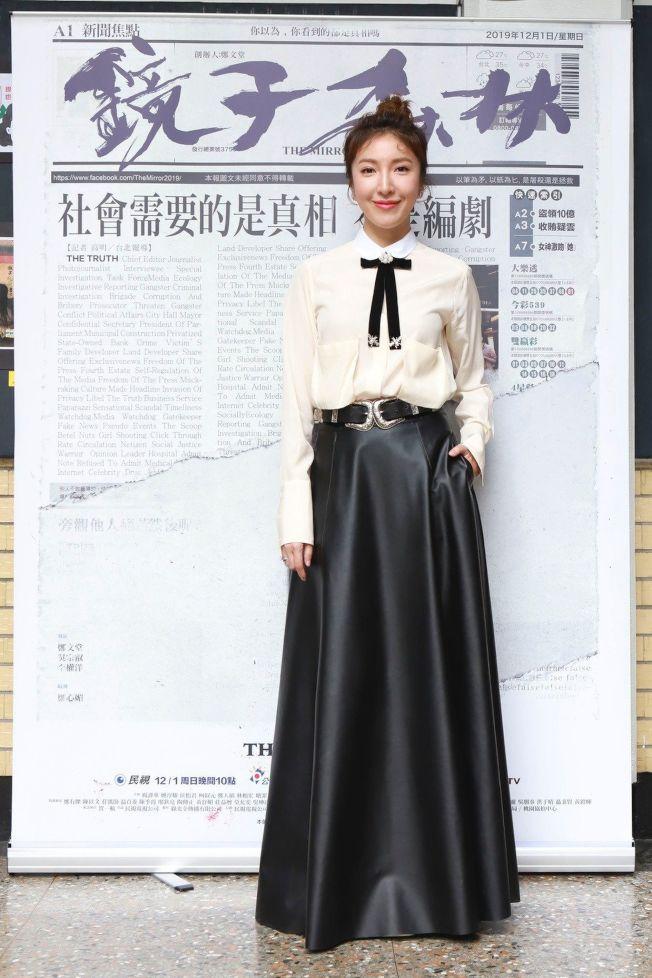 楊謹華為主演新戲「鏡子森林」宣傳。(圖:民視提供)