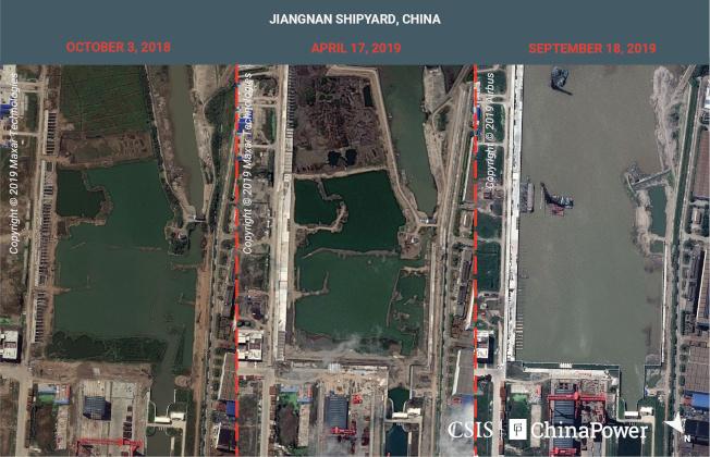 美國戰略與國際研究中心提供給路透的衛星組合照片,顯示過去一年來上海江南造船廠一艘航母的建造進展。由左至右的影像拍攝時間分別是2018年10月3日、2019年4月17日、2019年9月18日。路透
