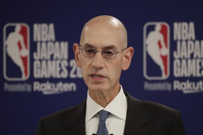 職籃NBA總裁席佛17日表示,NBA願為言論自由承擔代價。(美聯社)